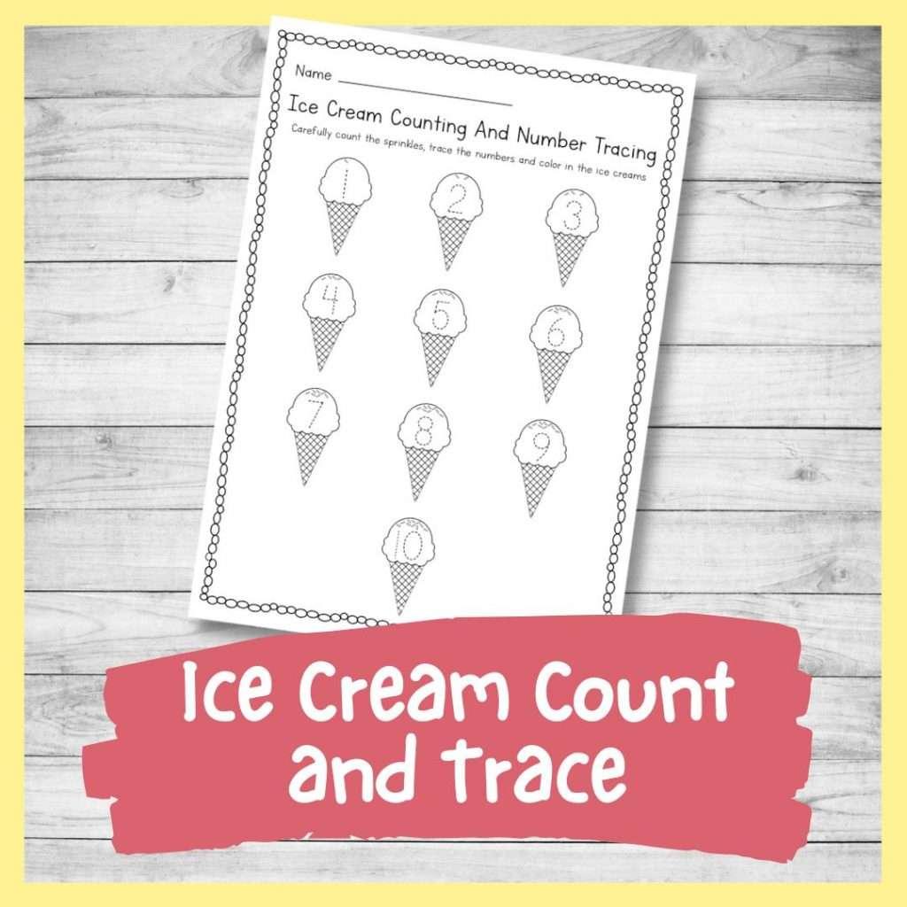 number tracing sheet - ice cream summer theme kindergarten printable writing skills