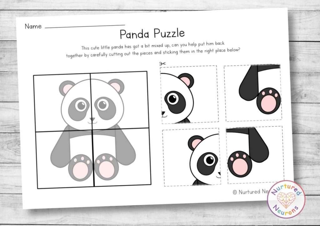 Cute Panda Puzzle for preschool - cut and paste activity for kindergarten (printable pdf)