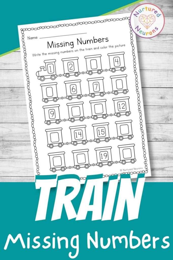 Train themed missing number worksheet for kindergarten - printable math sheet for preschool (1-20)