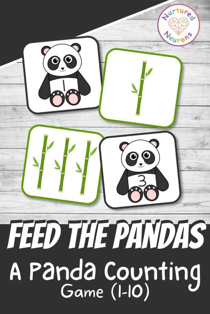 Cute panda counting game for preschool and kindergarten - printable hands on math activity