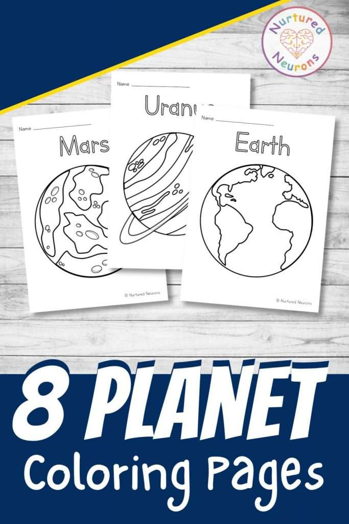printable planet coloring page for kids preschool kindergarten space themed pdf