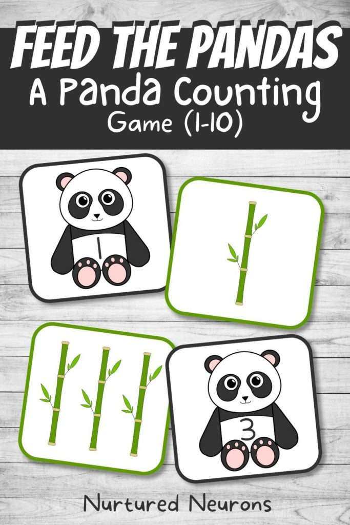 panda math game - fun preschool and kindergarten math game for kids - printable pdf