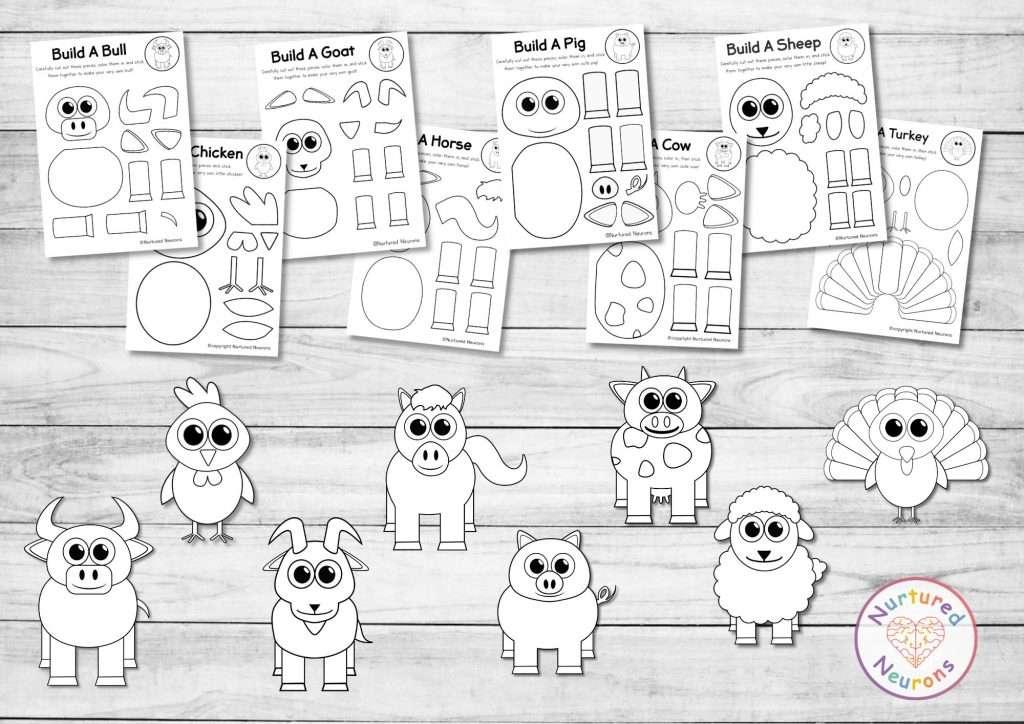 plain farm animal templates for kids crafts