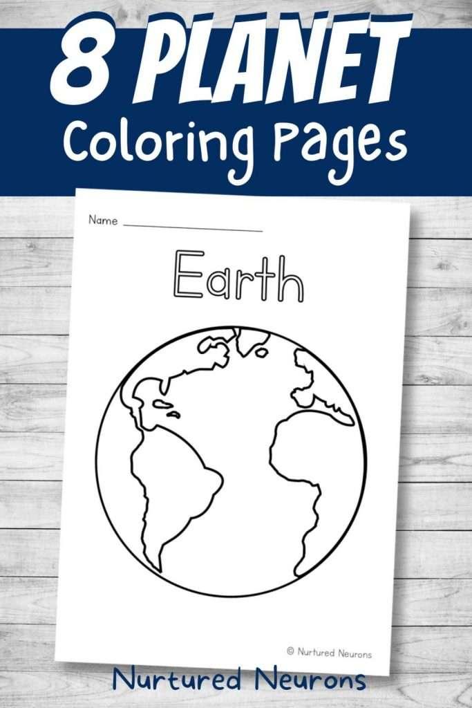 8 Planet coloring pages for kids - space coloring booklet printable pdf