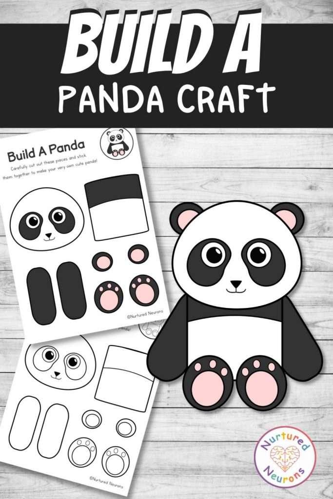 cute panda template cut and paste craft (preschool and kindergarten pdf)