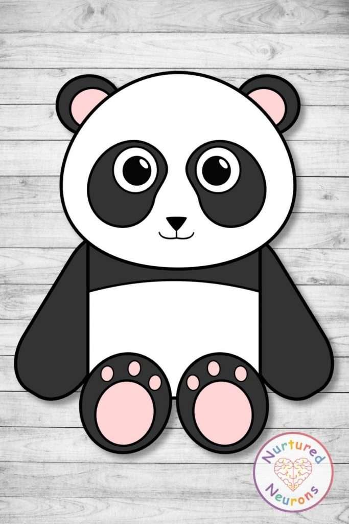 super cute cut and paste panda craft - prek