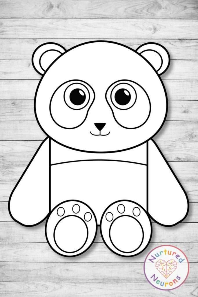 Black and white panda template craft