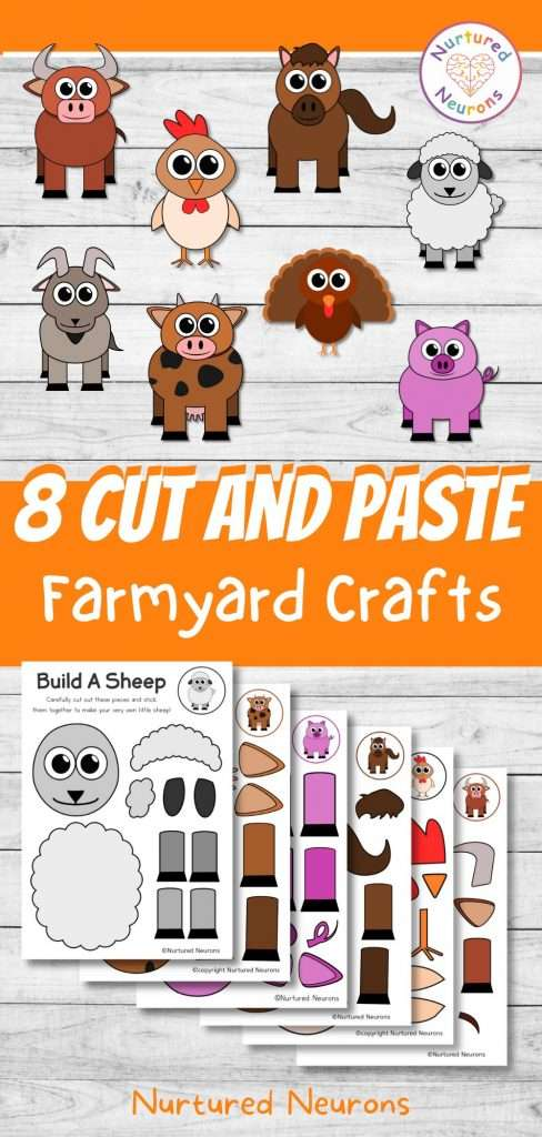 8 Cut and paste farmyard crafts for kids - preschool and kindergarten easy farm art projects