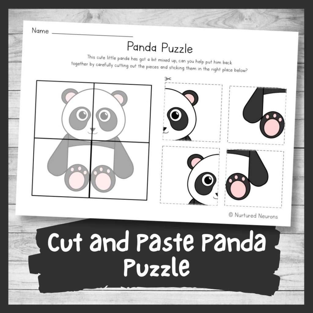 Cute cut and paste panda puzzle (printable preschool and kindergarten cut and paste worksheet)