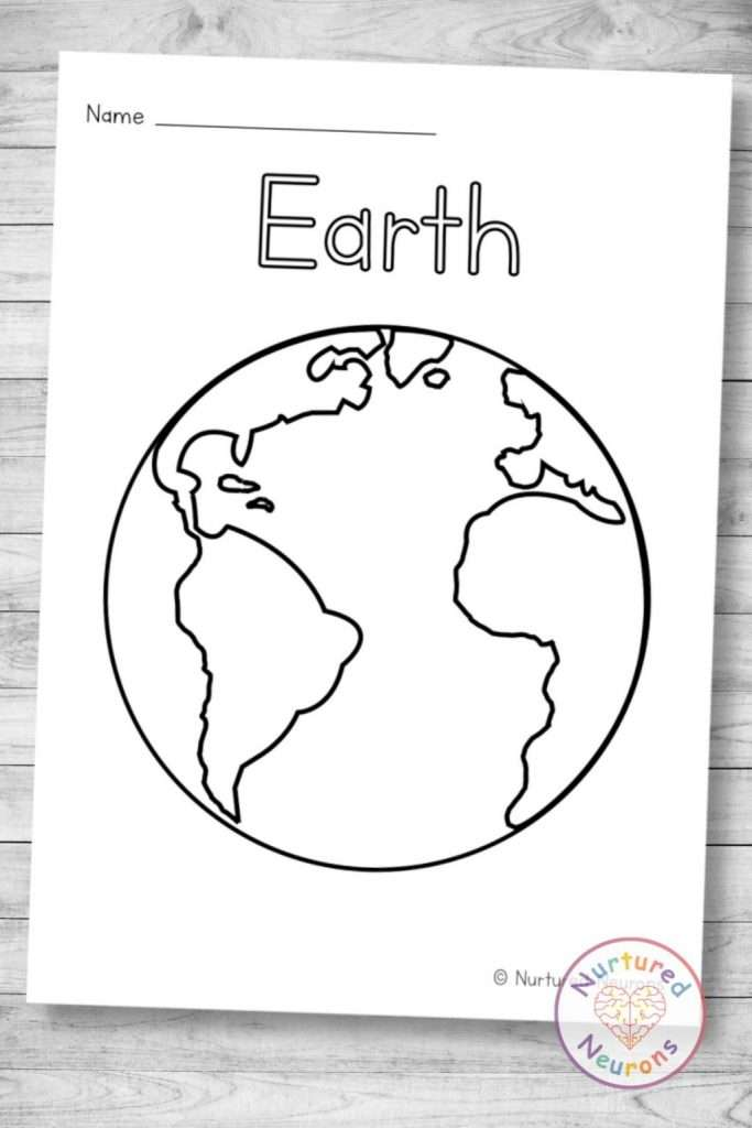 Earth coloring page - planets of our solar system coloring sheets for kids - printable pdf