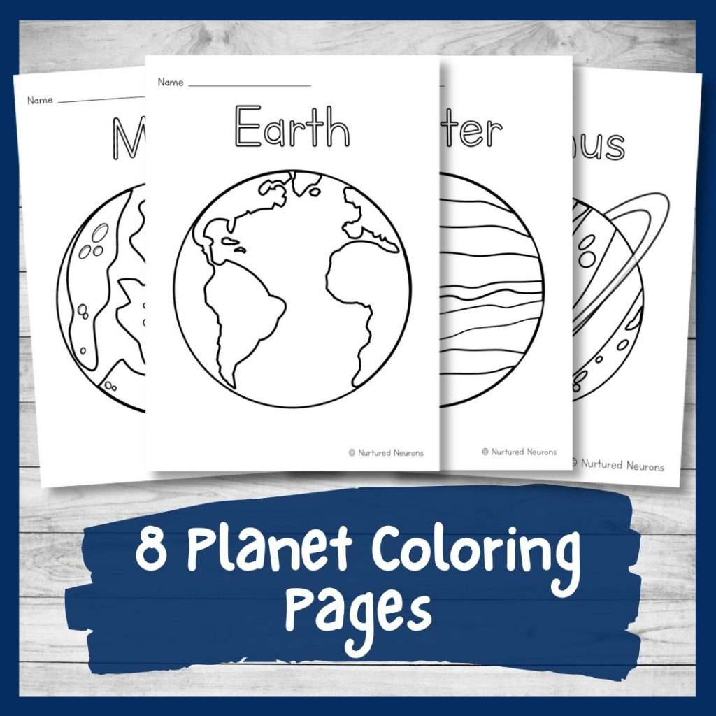 Eight planet coloring pages for kids - space preschool and kindergarten printable pdf