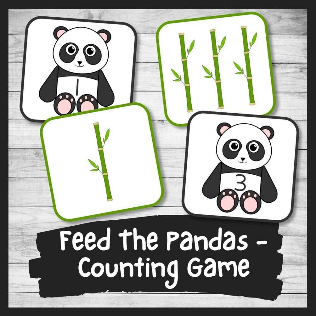 Panda counting game for preschool and kindergarten printable math activity