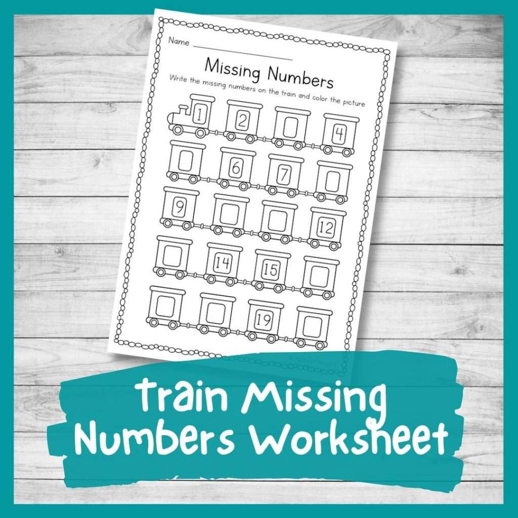 Train missing numbers worksheet - transport theme kindergarten printable counting sheet 1-20