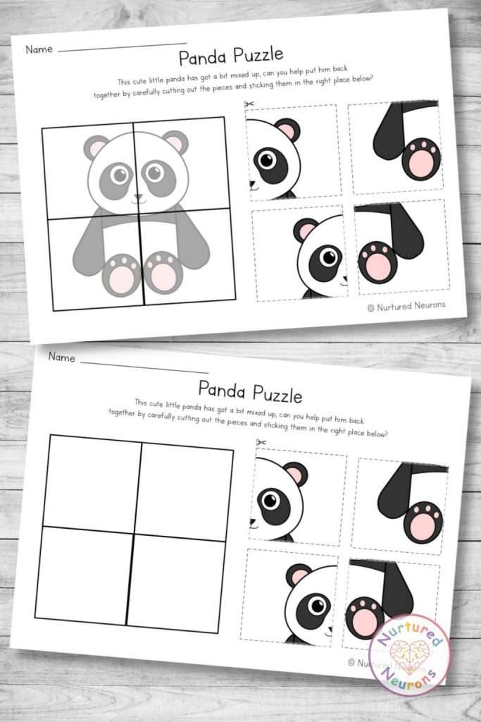 printable panda puzzle - a cut and paste activity for kindergarten