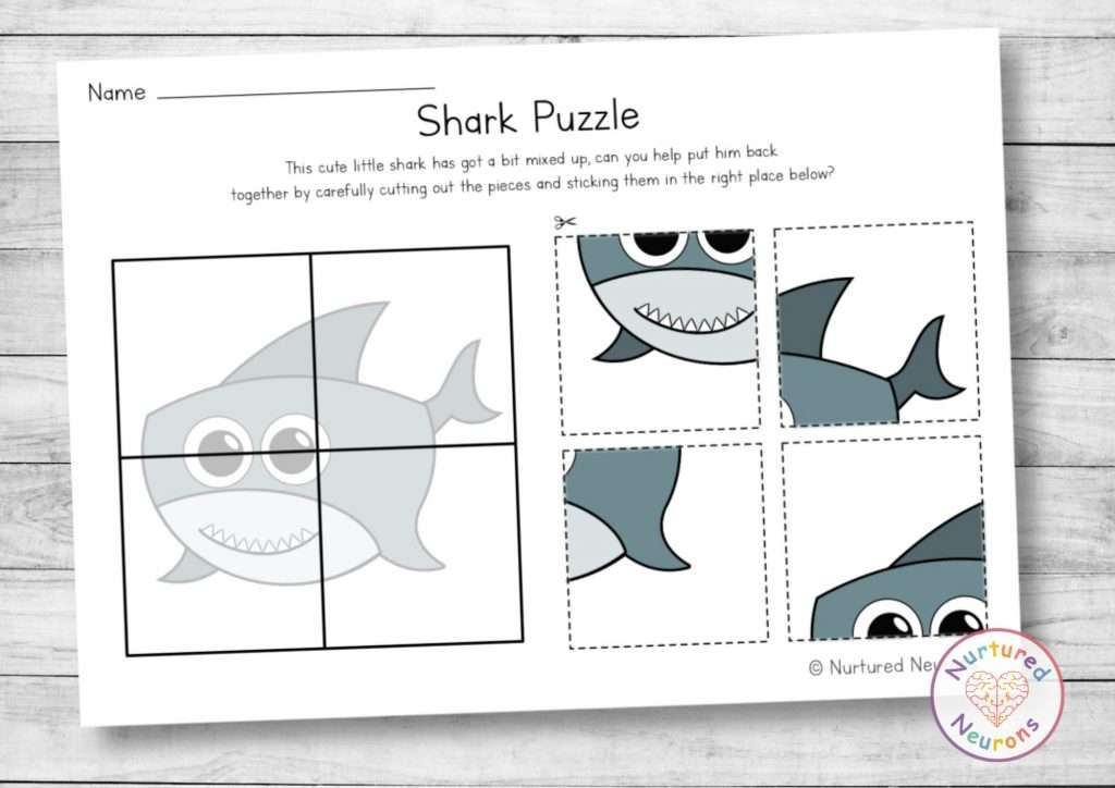 Cute Shark Puzzle for preschool - cut and paste activity for kindergarten (printable pdf)