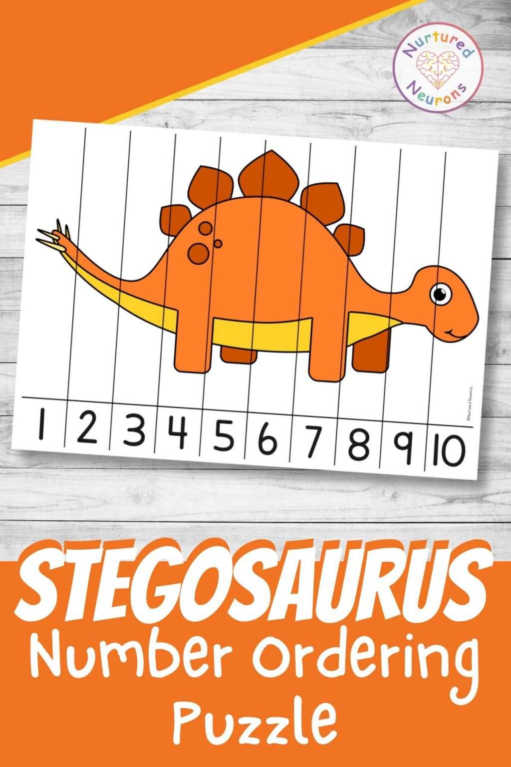 Stegosaurus Number Ordering Printable - dinosaur math activity for preschool