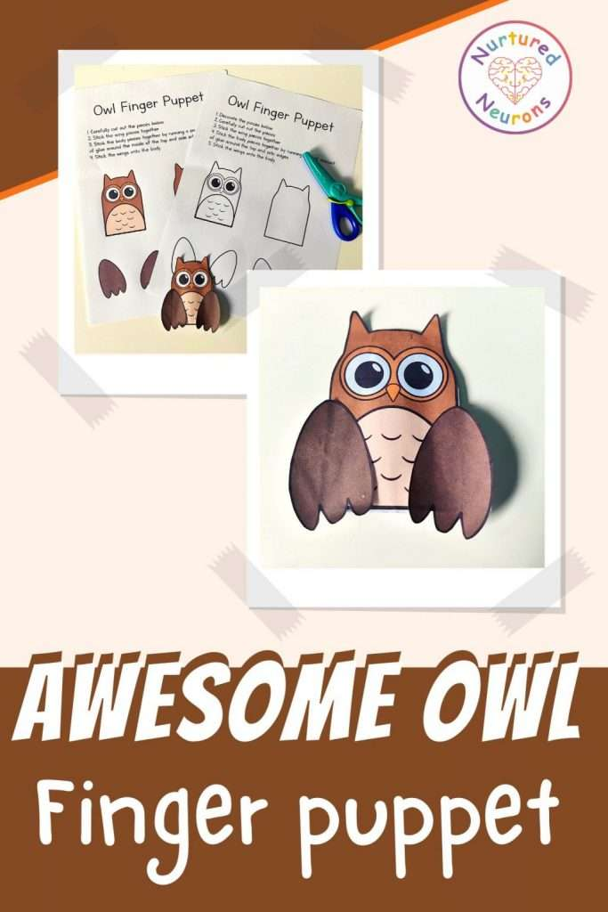 make an owl finger puppet printable paper templates for kids craft