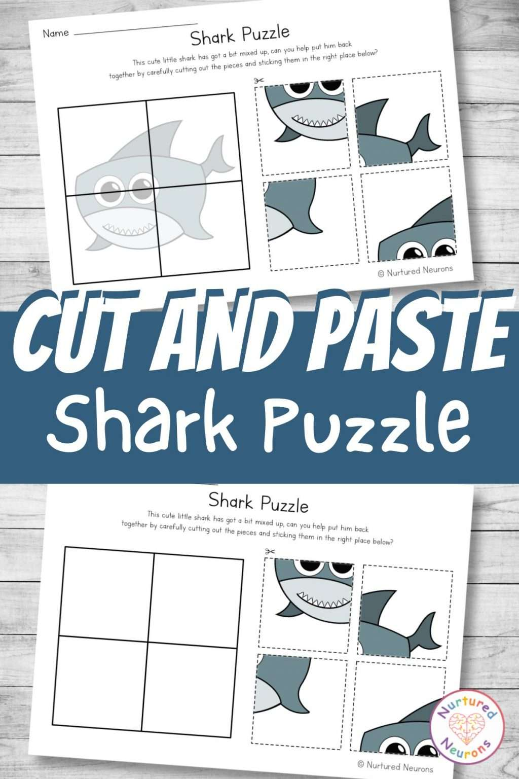 Baby Shark cut and paste worksheets for preschool and kindergarten - printable puzzle