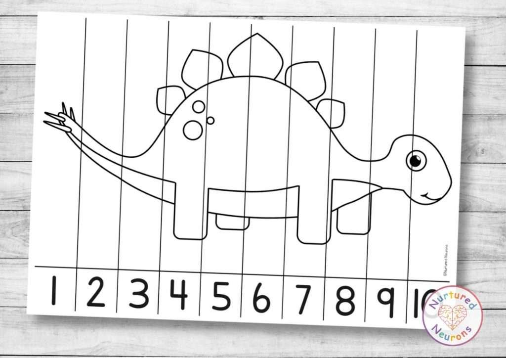 Cute dinosaur number ordering puzzle dinosaur Math printable worksheet for kids