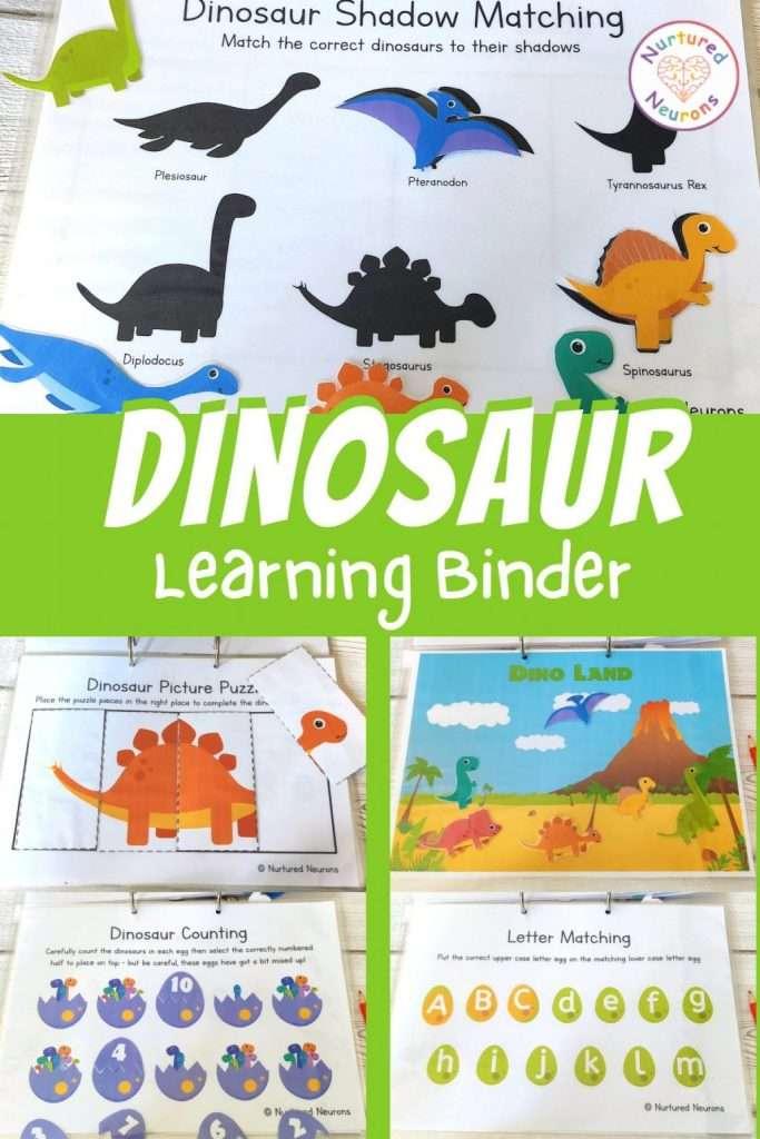 Printable Dinosaur Learning Binder for toddlers, preschool and kindergarten