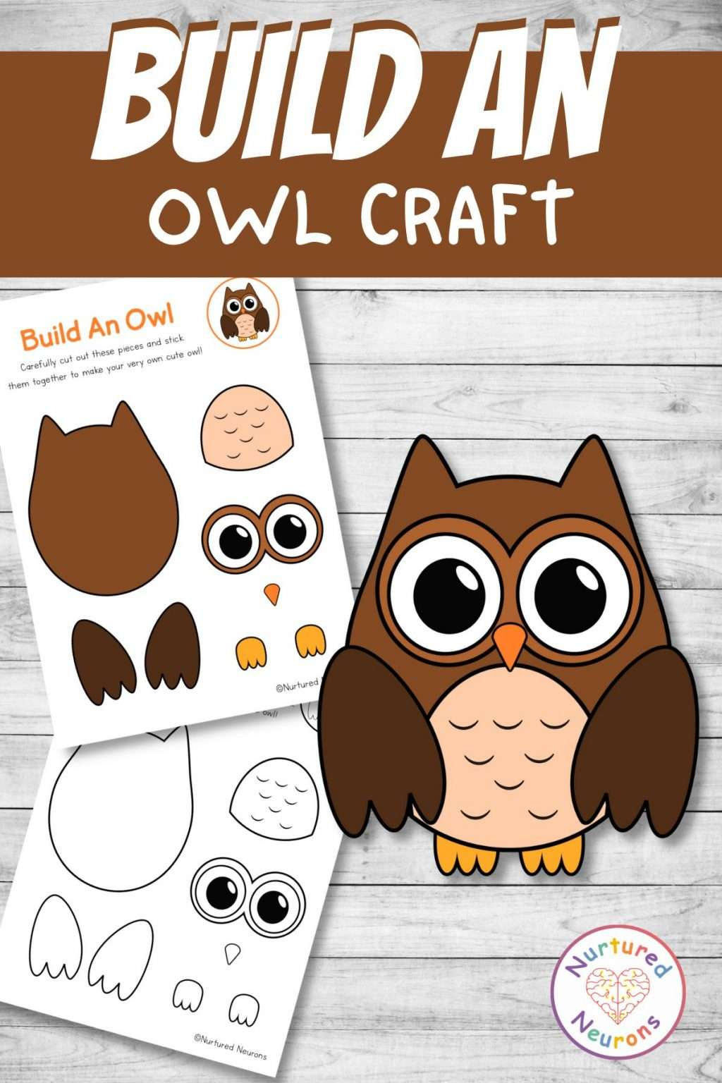 build an owl craft printable cute cut and paste for preschool and kindergarten