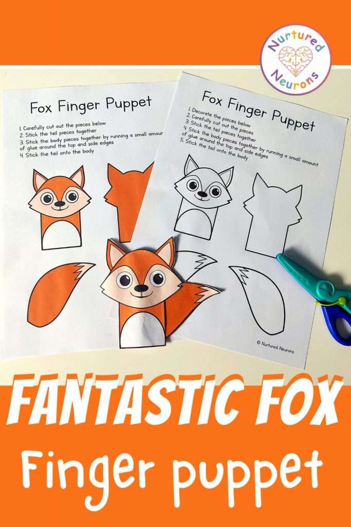 fox puppet templates - easy craft for kids