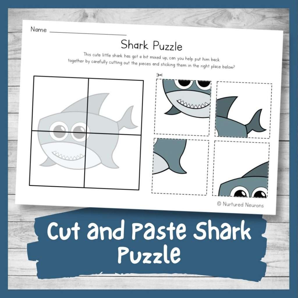 Cute cut and paste shark puzzle (printable preschool and kindergarten cut and sticking worksheet)