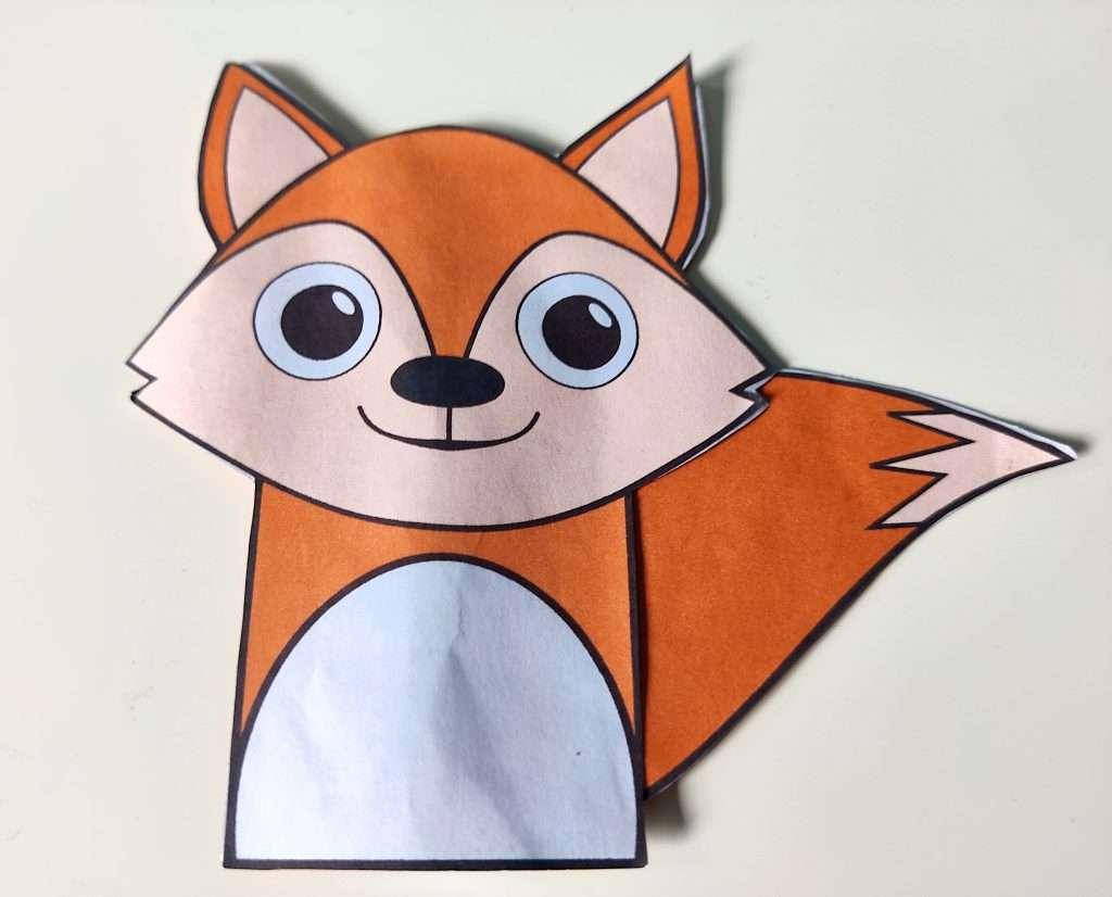 Fox finger puppet - paper template