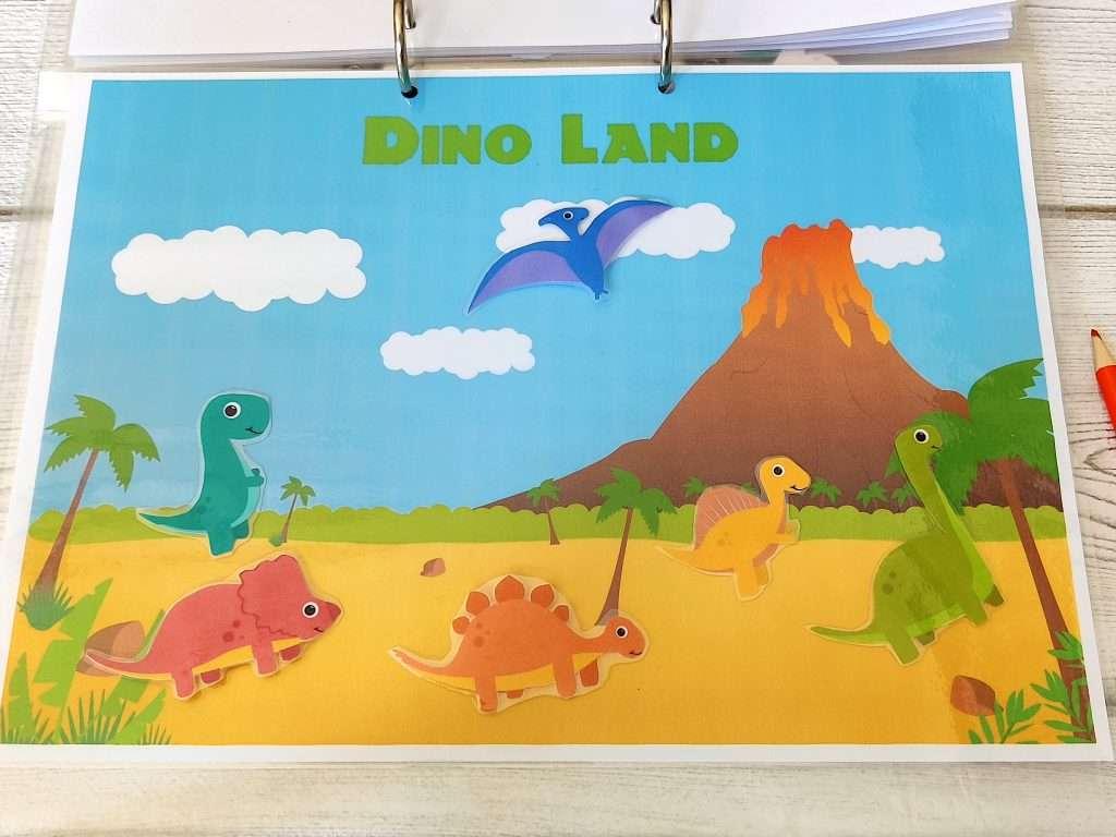 Dinosaur imaginative play - printable dinosaur play - dinosaur learning binder activity