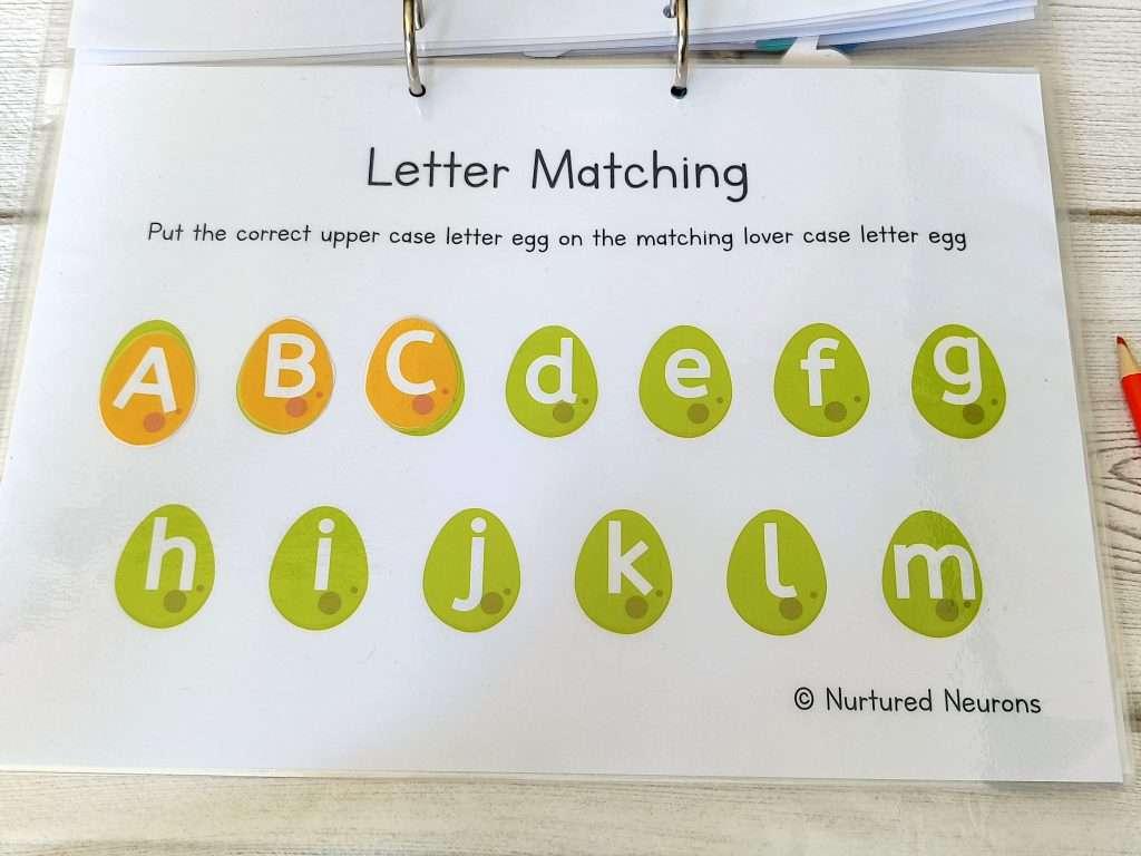Dinosaur letter case matching activity - dinosaur learning binder activity