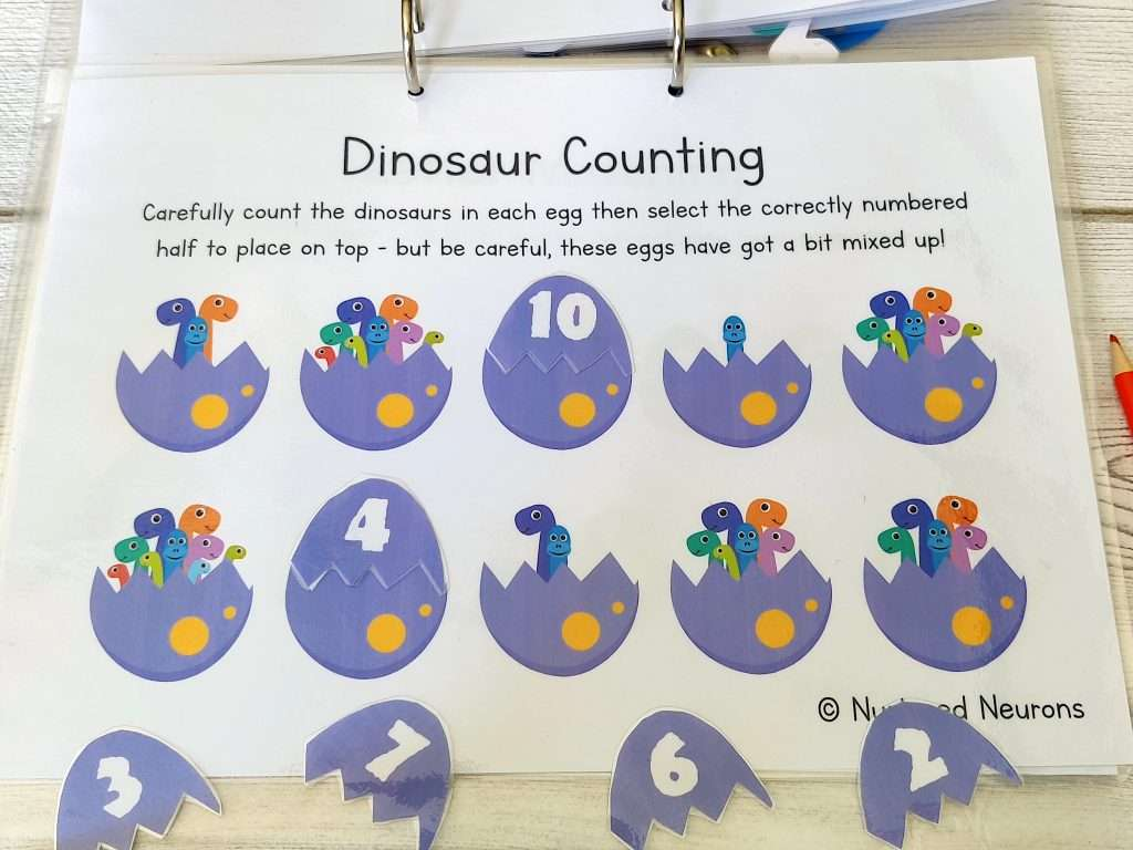 Dinosaur counting game for kids - count the dinosaurs in the eggs dinosaur learning binder activity