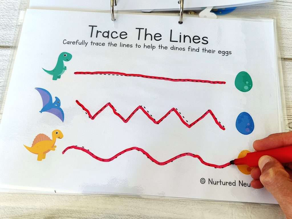 dinosaur line tracing for some writing skills practice