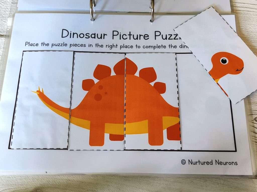 Simple Dinosaur Puzzle 4 piece - dinosaur learning binder activity