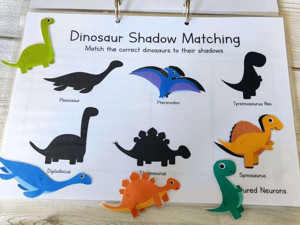 dinosaur shadow matching activity for preschool -dinosaur learning binder activity