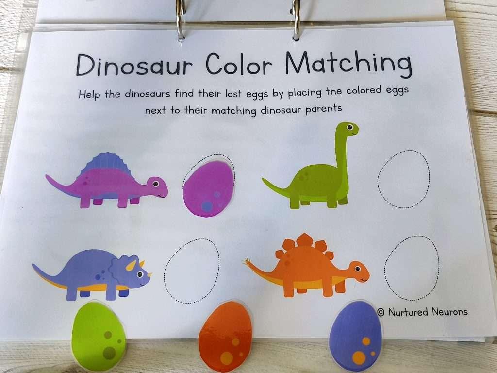 dinosaur color matching activity