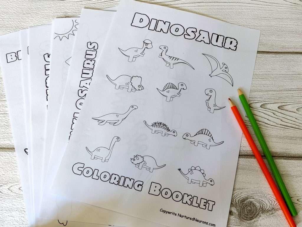 Printable Dinosaur coloring booklet, stegosaurus coloring, t-rex coloring