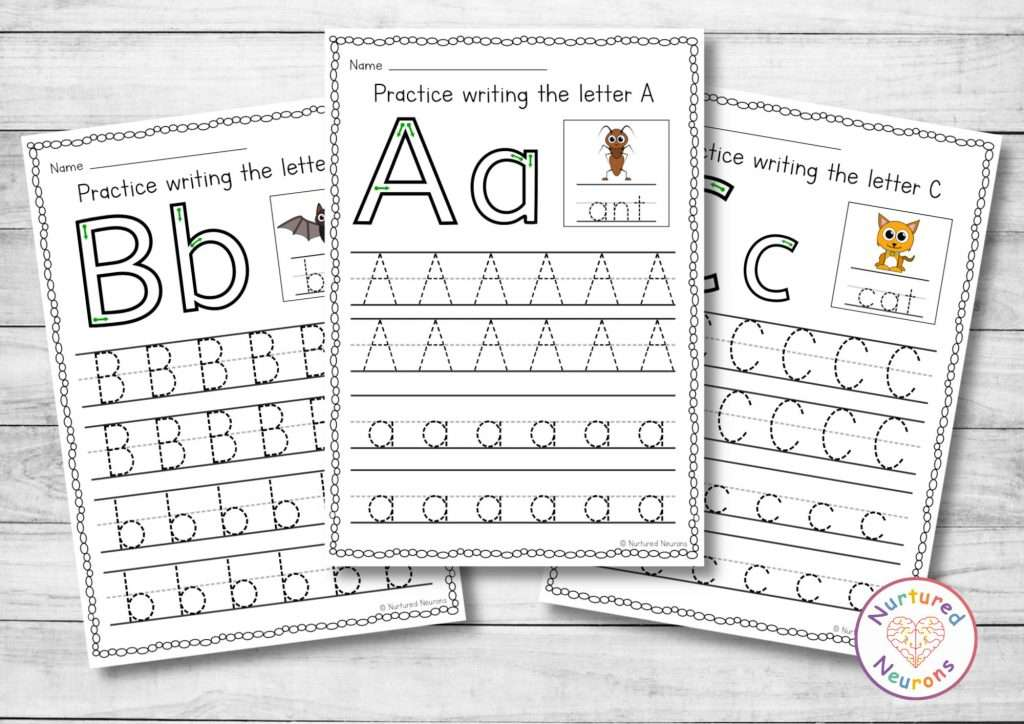Practice letter formation with these alphabet worksheets