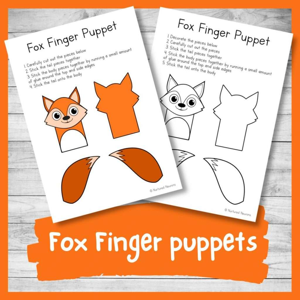 printable fox finger puppets for kids - printable templates