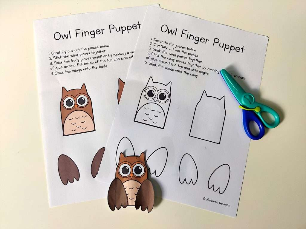 cut out the owl parts carefully to make the puppet