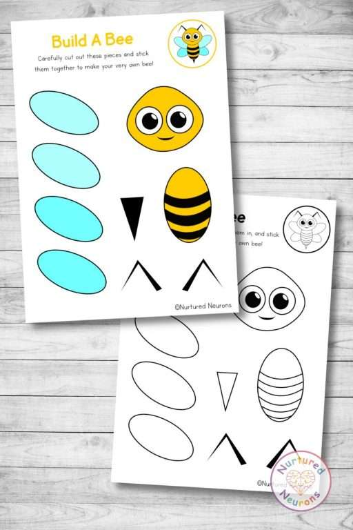 Cute bee templates cut and paste craft (preschool and kindergarten Halloween pdf)