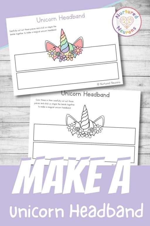 Printable unicorn headbands - make a unicorn crown DIY