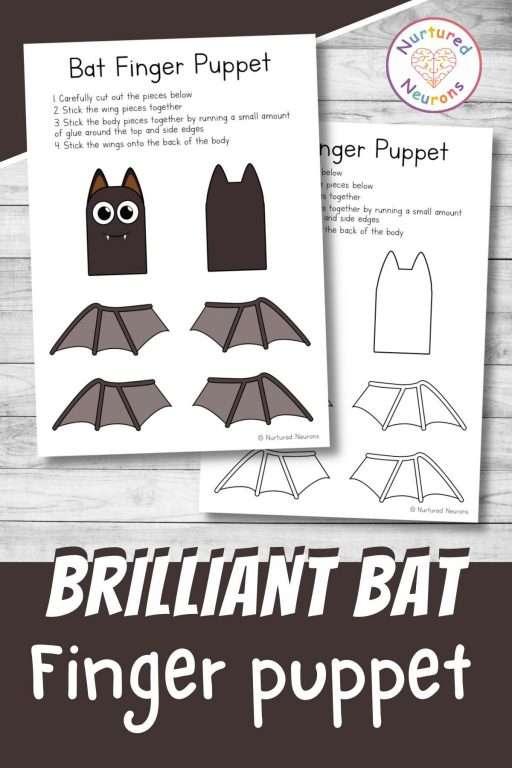 make a bat finger puppet printable paper templates for kids craft