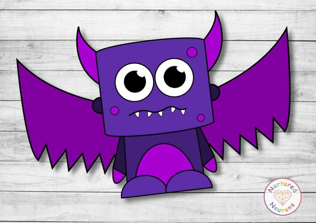 Printable flying monster template for preschool and kindergarten crafts - Halloween and Fall