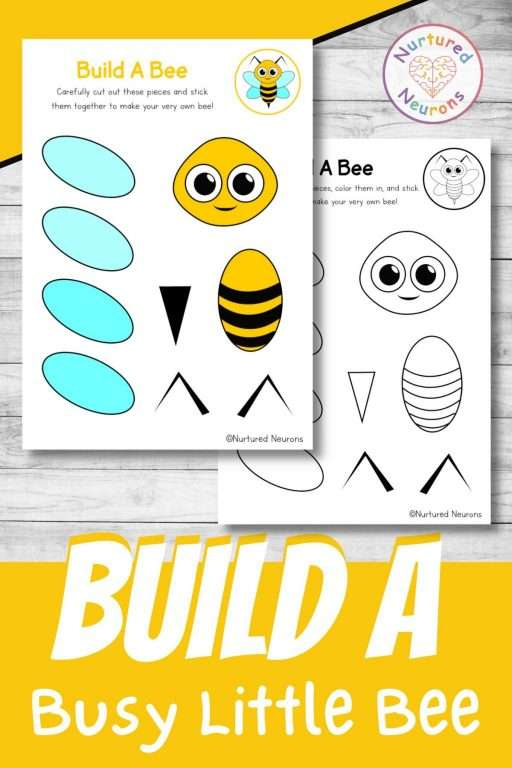 build a bee craft printable Insect cut and paste for preschool and kindergarten