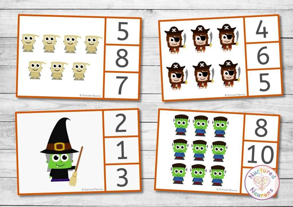 Halloween Clip cards for preschool and kindergarten math activities