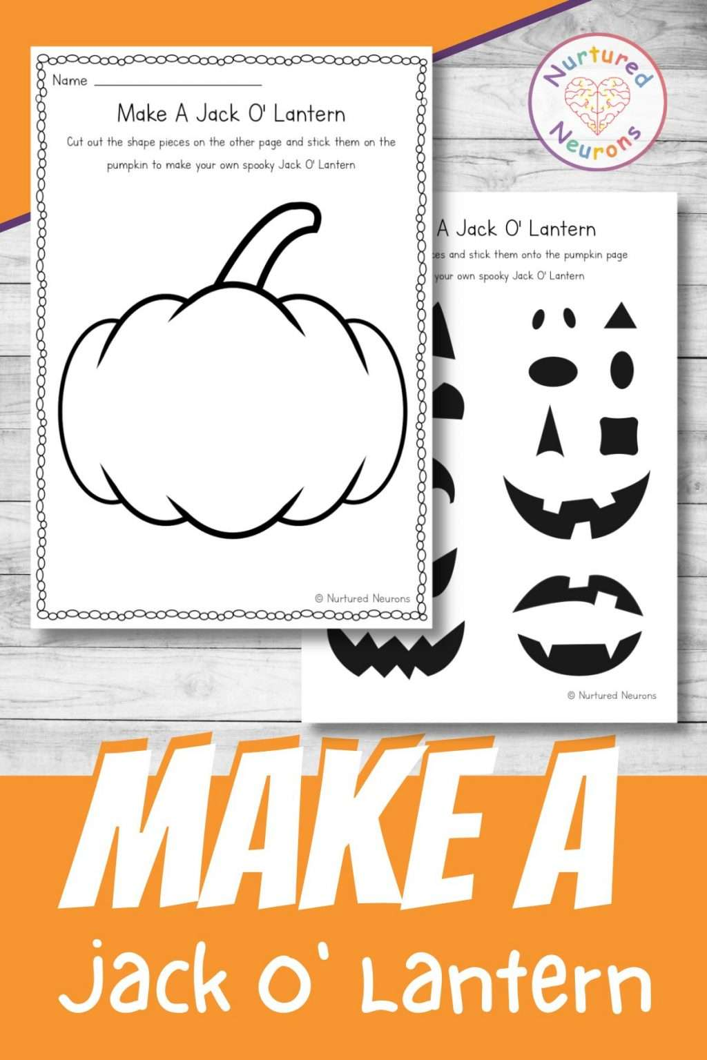 build a jack o lantern printable cut and paste for preschool and kindergarten