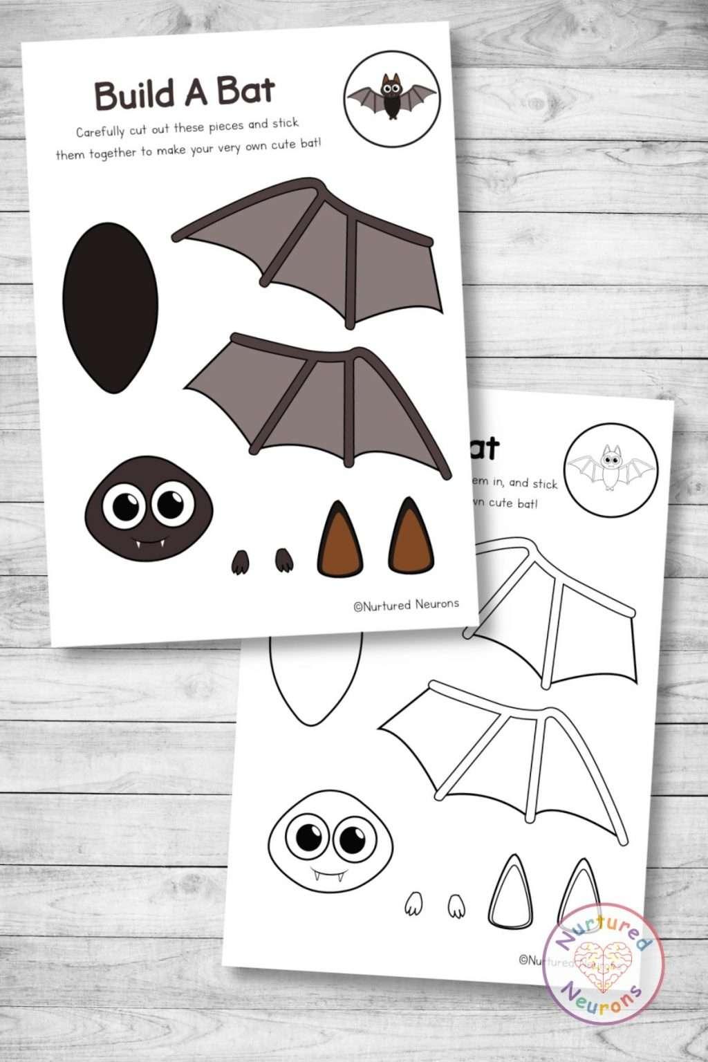 cute bat template cut and paste craft (preschool and kindergarten Halloween pdf)