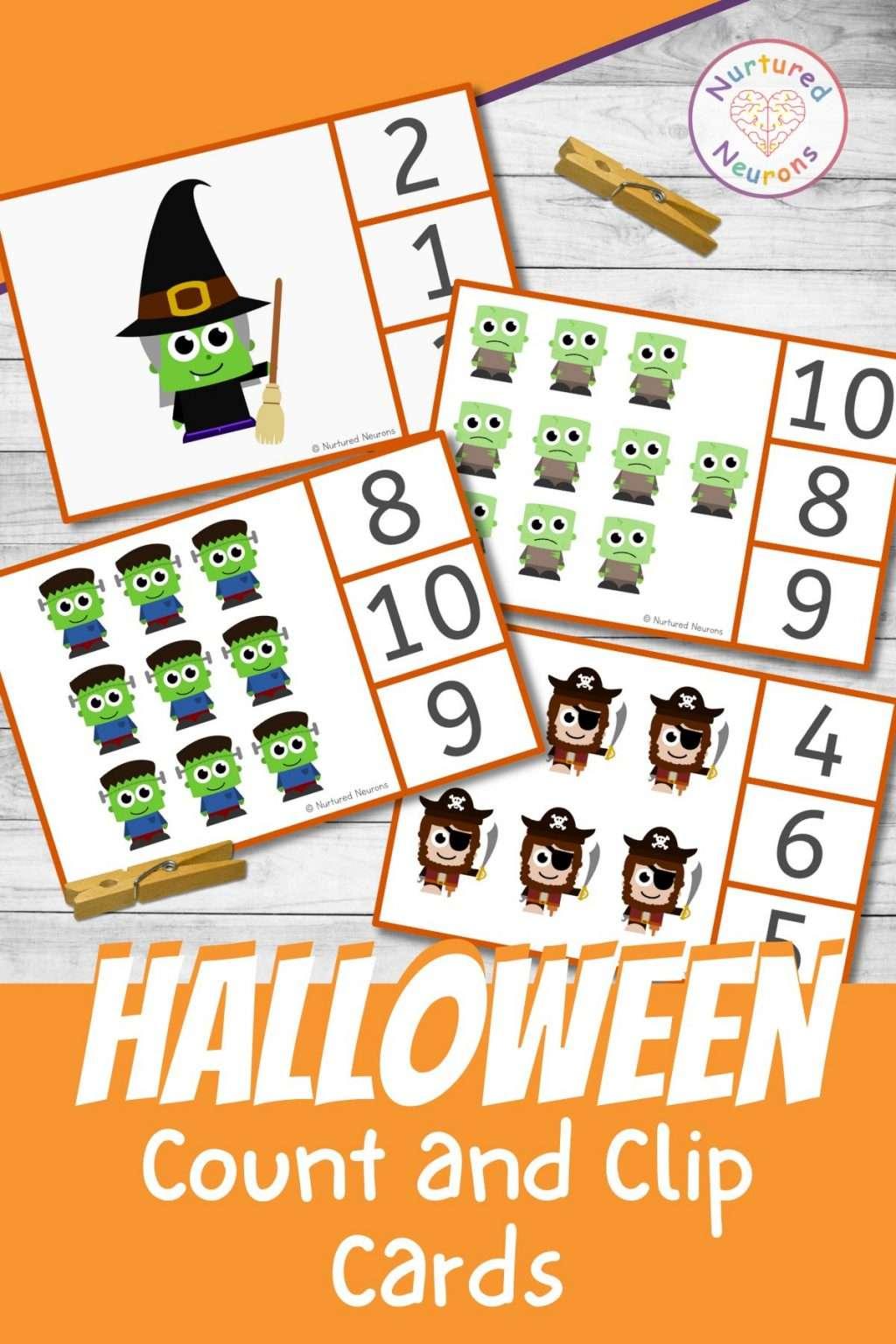 Preschool peg cards - kindergarten Halloween math counting printable clip cards