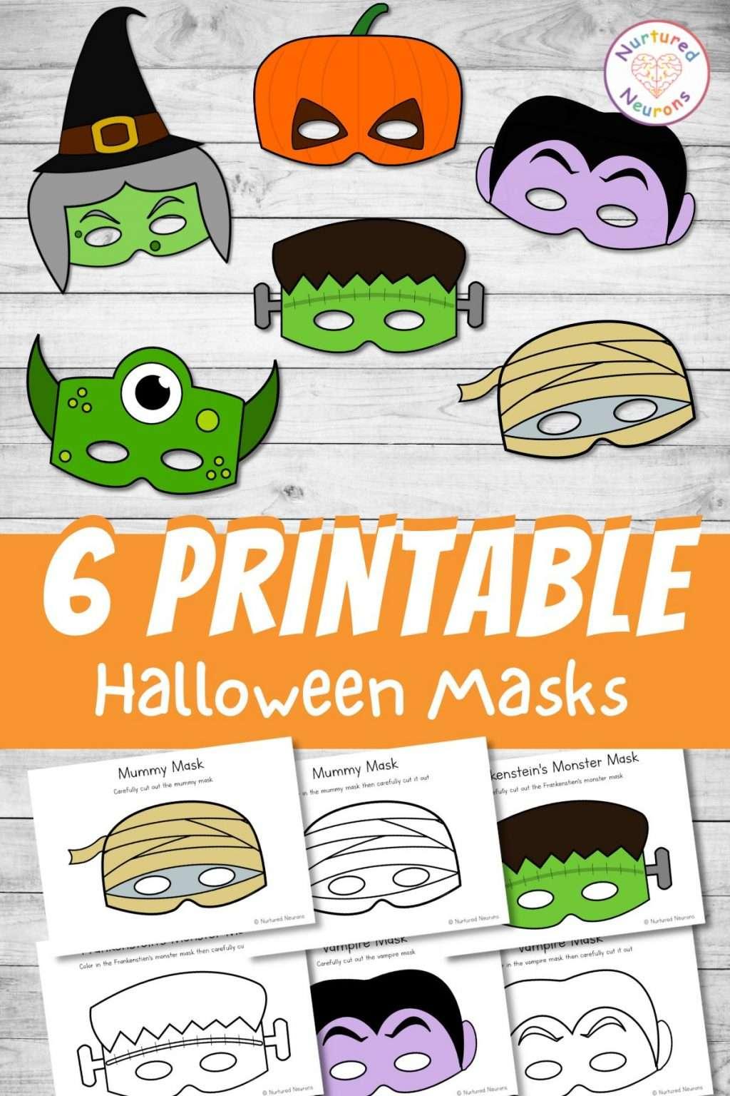 Printable Halloween Masks for kids - color and cut out mask crafts - vampire, Frankenstein, mummy, pumpkin, witch masks