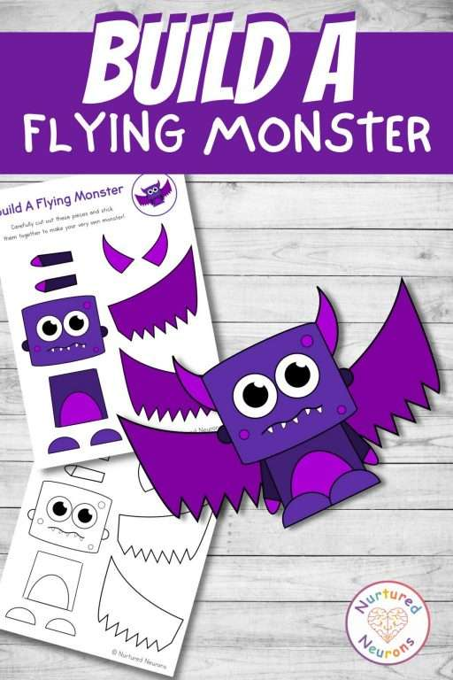 build a Flying monster craft printable Halloween cut and paste for preschool and kindergarten